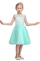 Wholesale Cheap Christening - 2017 New Arrival White Lace Top Cheap Flower Girls' Dresses Crew Neck Knee Length Mint Green Tulle Girls Wedding Party Gowns CPS421