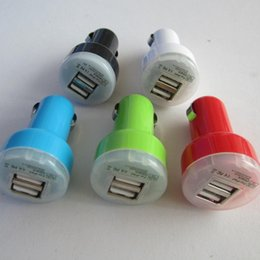 Wholesale Iphone Chargers Set 4s - Lot 5 Set Mini Color Colorful Bullet Dual USB 2 Port Car Charger Adaptor for Iphone 5 3gs 4 4s Ipod Touch Samsung I9300 Note Ii