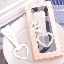 Wholesale Wine Opener Gift Box - LOVE Bottle Opener Key Wine Opener Heart Shape Beer Bottle Opener Wedding Favor Gift With Pink Box