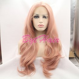 Wholesale Heat Waves - Bythair Heat Resistant Fiber Glueless Natural Hairline Body Wave Hair Fully Wigs For Women Mixed Pink Synthetic Lace Front Wig