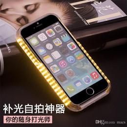 Caso grossista de iluminação de iphone on-line-1 pcs acender o seu telefone case frente luz por atacado tampa traseira preencher a luz phone case para iphone 7 7pus 5 5s se 6 6 s plus dhl livre