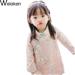 Wholesale Chinese Cheongsam For Sale - Hot Sale 2016 New Spring Kids Dresses For Girls Long Sleeve Cotton Hemp Linen Floral Chinese Style Cheongsam Girl Dress