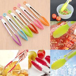 Wholesale Meat Salads - anti-burn Silicone Cook Salad bread meat Serving BBQ Ice Tongs Stainless Steel clips Handle Kitchen Tools wn034