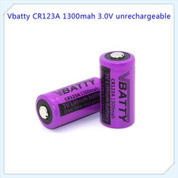 Wholesale Lithium Ion Cell 3v - Vbatty CR123A lithium-ion batteries disposable cell 1300mah lithium polymer batteries 3v strong light flashlight batteries 16340