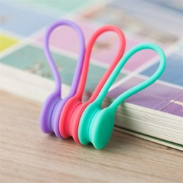 Wholesale Silicone Cable Clips - Hot Multifunction Magnet Silicone Earphone Headphone Cord Winder USB Cable Holder Strap Magnetic Organizer Gather Clips Colorful CAB211