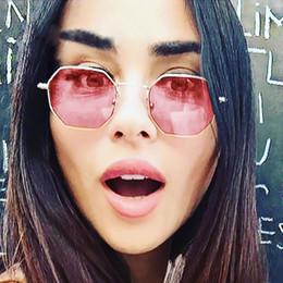 Wholesale Hot Pink Eyeglasses - ALOZ MICC Brand Sunglasses For Men Hot Hexagon Eyeglasses Designer Sunglasses For Women Fashion Metal Smal Square Clear Lens Glasses UV A171