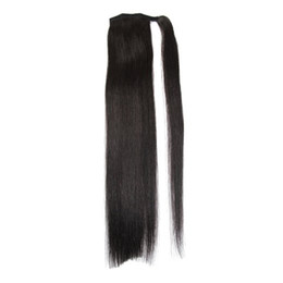 "Wholesale Horsetail Hair Extension - Length 16""-30"" 100% Natural Brazilian Remy Human hair Ponytail Horsetail Clips in on Human Hair Extension Straight Hair"