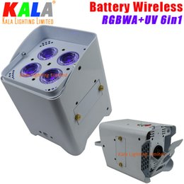 Wholesale Disco Light Battery - DJ Wedding Disco Battery Stage Lights Operated Wireless DMX512 Uplighting 4X18W RGBWA+UV 6in1 Color Wash LED Slim Par Can Light