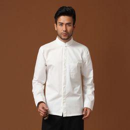 Wholesale Traditional Chinese Cotton Shirt - Wholesale- High Quality White Traditional Chinese Men's Cotton Kung Fu Shirt Tang Clothing Size S M L XL XXL XXXL hombre Camisa Mim13A