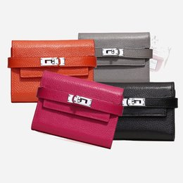 Wholesale Designer Purse Parties - 2017 New Lady Genuine Leather Long Fashion Women Wallets Designer Brand Clutch Purse Lady Party Wallet Female Card Holder dhY-803