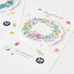 Wholesale adhesive memo pad - Wholesale- 36 pcs Lot Flower Wreath Sticky Note 30 sheet 70mm Watercolor floral memo pad Stationery Office accessories School supplies 7020