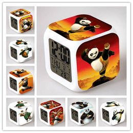 Оптовые подсвеченные часы онлайн-Wholesale- 2017 New  Panda Po LED Glowing Alarm Clock Animal Panda Toys Kids Wake Up Table Despertador Panda Lamp Lighting Box Gift