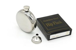 Wholesale Retro Flask - Mirror Surface Circle 5 Oz Stainless Liquor Flagon Retro Rum Whiskey Alcohol Pocket Flask Wine Pot Screw Cap With Funnel A194