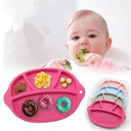 Colchoneta de comida para bebé online-Placas para bebés Tazones de comida de silicona de grado alimenticio Estera para comer Bebé Placa de servicio para bebés Caja fuerte y duradera OPP Embalaje a granel