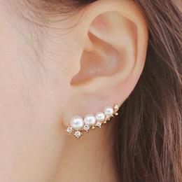 Wholesale earring needles - silver needle simulated pearl ear cuff earrings for women bijoux beautiful stud earrings fashion jewelry wholesale gift