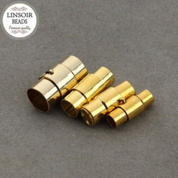 Wholesale Necklace Connector Clasp - 10 pcs lot Gold Color Magnetic Clasps Fit 4 5 6 8mm Round Leather Cord Necklace Spring End Caps With Adjustable Snap Lock F809
