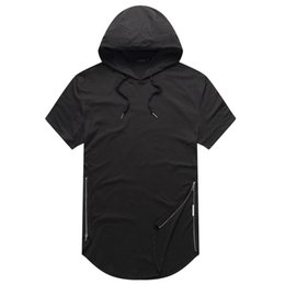 Wholesale Hip Zip Wholesale - justin bieber clothes Mens Longline Curve Hem t shirt Hooded Mens Hipster Hip Hop Side Zip short sleeve T shirt free shipping
