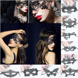 Wholesale Sexy Costume Cartoon - Worldwide Black Sexy Lady Halloween Lace Mask Cutout Eye Mask for Masquerade Party Fancy Mask Costume for Halloween Party 1000pcs