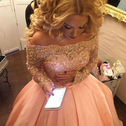 Wholesale Silk Bow Dress - Pink Ball Gown Prom Dresses 2017 Boat Neck Long Sleeves Sparkly Lace Appliques Beaded Bow Party Dress Prom Gowns vestidos