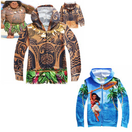 Wholesale School Boys Clothing - Graphic Moana and Maui Hoodies for Children Boys and Girls 3D Print Sweatshirts Cartoon Theme Costumes Kids Clothes Back to School Supplies