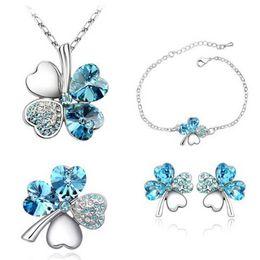 Wholesale Lucky Clover Heart Bracelet - New Crystal Four Leaf Clover Heart Pendant Necklace Bracelet Earrings Fashion Lucky Wedding Jewelry for Women