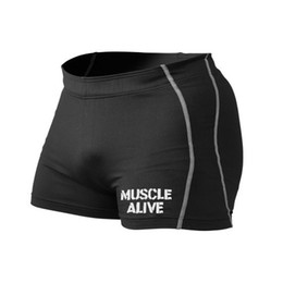 Wholesale Sexy Men Tight Clothing - Wholesale-Muscle Alive Shorts Skinny Mens Bodybuilding Tights Shorts Sexy Fitness Wicking Leggings Clothing Bottoms Workout Shorts