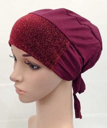 Wholesale Shimmer Headbands - Wholesale-shimmer glitter muslim underscarf with tie