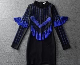 Wholesale Heavy Collar - 2017 Spring European and American runway dress Heavy beaded tassel pendant stylish stand-up collar long-sleeved dress Slim