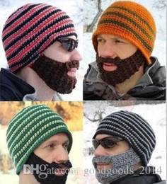 Wholesale Knitted Beard Ski Mask - winter Fashion Mustache hat Handmade Knitted Crochet Beard Hat Bicycle Mask Ski Cap roman knight octopus Cool Funny beanies Gift Free Shipp