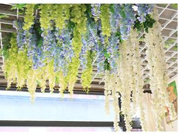 Wholesale Violet Rooms - 180Cm Wholesale Wedding Decoration Emulation Flower Living Room Interior Decoration Plastic Flower Vine Violet Wall Hang The price is low