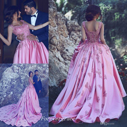 light ivory colour Coupons - Pink Colour Prom Dress Modest Said Mhamad Long Sleeveless Backless Applique Formal Wear Party Gown Custom Made Plus Size