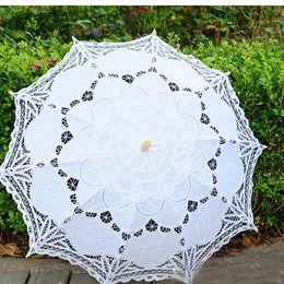 Wholesale Battenburg Ivory - 2017 Top Selling Elegant Lace White&Ivory Embroidery Umbrella Cotton Battenburg Wedding Bridal Umbrella Parasol Umbrella Decoration