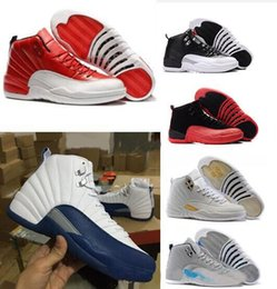 Wholesale Ocean Games - High Quality Retro 12 OVO Gym Red Wool Taxi Basketball Shoes Men Women 12s Flu Game Black Nylon PSNY Sneakers