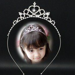 Wholesale Hair Accessories Little Girl Headbands - Children Wedding Party Silvery Tiaras Accessories Girls Cute Blingbling Accessories Comb Bridal Jewelry he Little Children Headbands Wrist