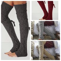 Wholesale Thigh High Socks Wholesalers - Women Winter Warm Cable Knitted Long Boot Socks Over Knee Thigh High Stockings Socks Leggings LJJO2930