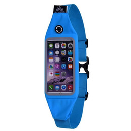 Wholesale Music Buckles - Wholesale- Sports Elastic Waterproof Fitness Running Waist Belt Wallet Bag For iPhone Touch Screen Stretchable strap with buckle Music Hole