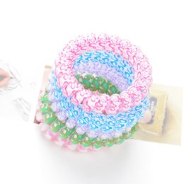 Wholesale Telephone Cord Headbands - 1000pcs lot women Girl Hairband Headband Telephone Cord Elastic Ponytail Holders Hair Ring Scrunchies For Girl Rubber Band Tie