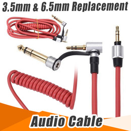Wholesale Replacement Spring - Wholesale Black, Red 150CM 6.5mm & 3.5mm Spring Replacement Audio Cable Headphone For Monster Beat Pro Detox Solo AUX Cable