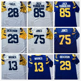 Wholesale Blue Marshall - cheap Throwback 85 Jack Youngblood Jersey Men 13 Kurt Warner 28 Marshall Faulk 29 Eric Dickerson 75 Deacon Jones Rugby Jersey Blue White