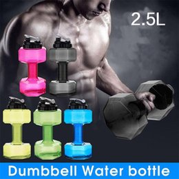 Wholesale Bpa Water - New 2.5L Creative Dumbbell Shaped Sport Water Cup Kettle Fit Drink Gym Bottle BPA Free