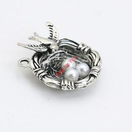 Wholesale Silver Bird Nest - Wholesale- Tibetan Silver Plated Bird Nest Charms Pendant Bracelets Necklace Jewelry Making Accessories DIY 24x20mm