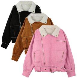 Wholesale Women S Down Coat Belt - Winter Women Jacket Faux Suede Zipper Turn-down Collar Pockets Belt Outerwear Warm Parka Coat