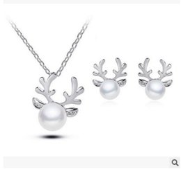 Wholesale Wholesale Antler Necklace - 2017 new simulated pearl jewelry Antlers pearl necklace gold Christmas   silver plated necklace appealing for women