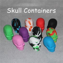 Wholesale screw toys - Skull Shape 15ml Non-stick Silicone Container Food Grade Silicone Customized Containers Small Slick Skull Screw Top NonStick Silicone Jar