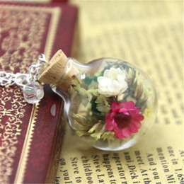 Wholesale Terrarium Globe Necklace - 10pcs Dried colorful Flower and moss Terrarium Glass Globe Bottle Necklace crystal silver chain necklace woodland jewelry