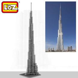 Wholesale Khalifa Tower - Loz Diamond Blocks World Famous Architecture Dubai Burj Khalifa Tower Mini 3D Model Building Blocks DIY Assembly Bricks Toys