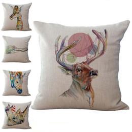 Wholesale Giraffe Throw - Colorful Giraffe Zebra Elephant Yak crocodile Animal Throw Pillow Cases Cushion Cover Pillowcase Linen Cotton Square Pillow Case 240538