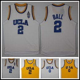 Wholesale Blue Balls Xl - Hot sale UCLA Bruins College Jerseys Men's Basketball #0 Russell Westbrook Jersey #2 Lonzo Ball Basketball Jersey Stitched Blue White Yellow