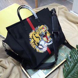Wholesale Artwork Shops - women tote bag Italian luxury brand large shopping bags tiger head embroidered nylon handbags business laptop bag men shoulder bags 2017