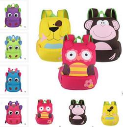 Wholesale Neoprene Double - School Bags Neoprene Kid Backpacks Owl Monkey Unisex Cartoon Animal Lovely Backpacks Double Zipper Children School bags For Girls Boys